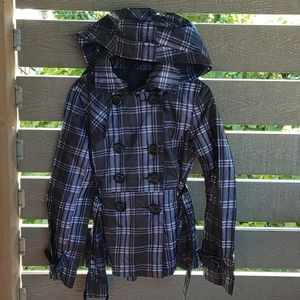 Snap Rain Jacket Coat plaid Jacket Size M